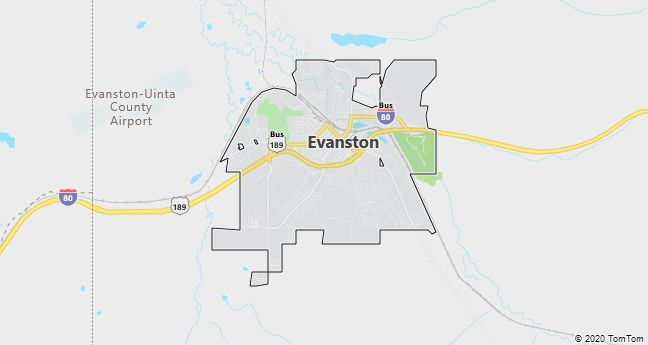 Map of Evanston, WY