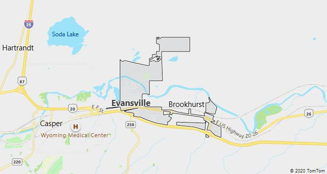 Map of Evansville, WY