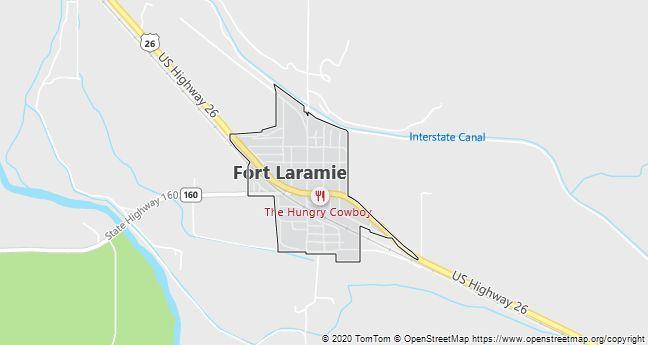 Map of Fort Laramie, WY