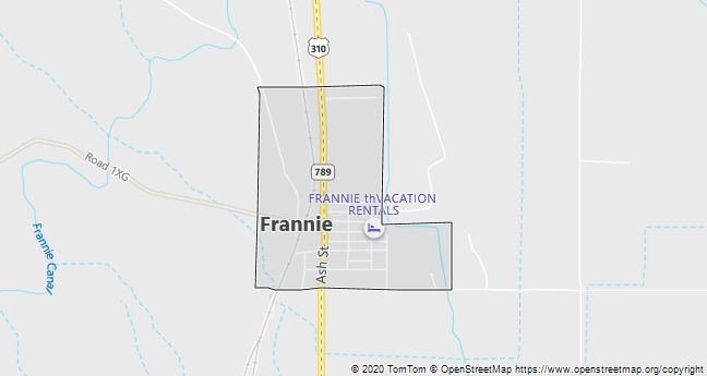 Map of Frannie, WY