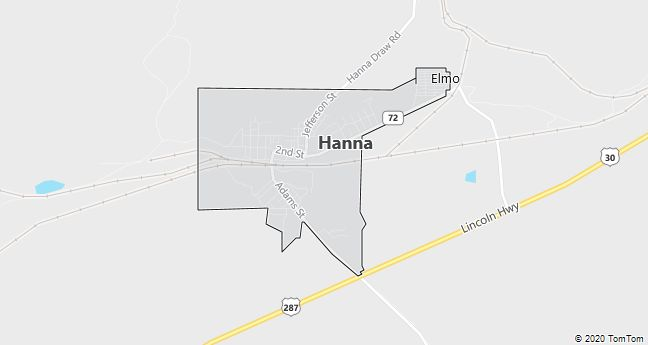 Map of Hanna, WY