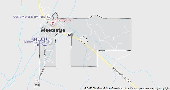 Map of Meeteetse, WY