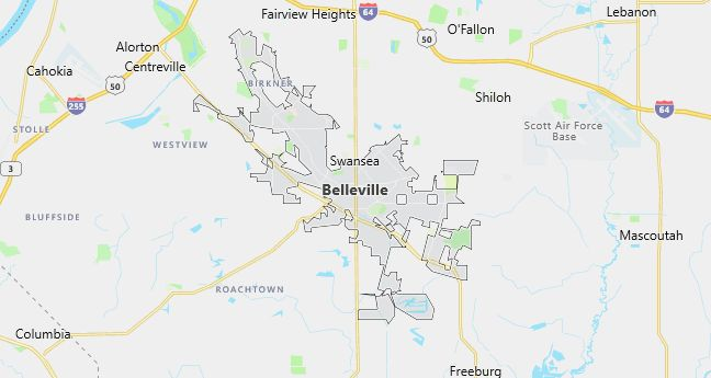 Map of Belleville, IL