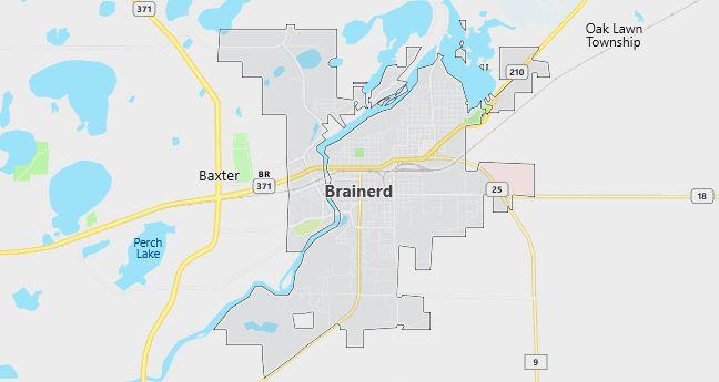 Map of Brainerd, MN