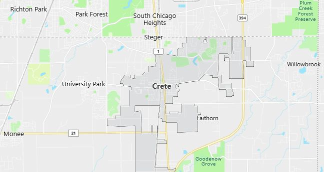 Map of Crete, IL