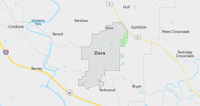 Map of Dora, AL