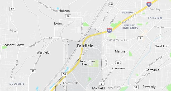 Map of Fairfield, AL