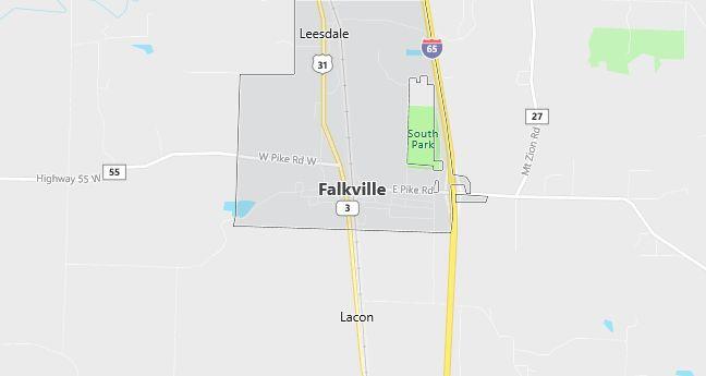 Map of Falkville, AL