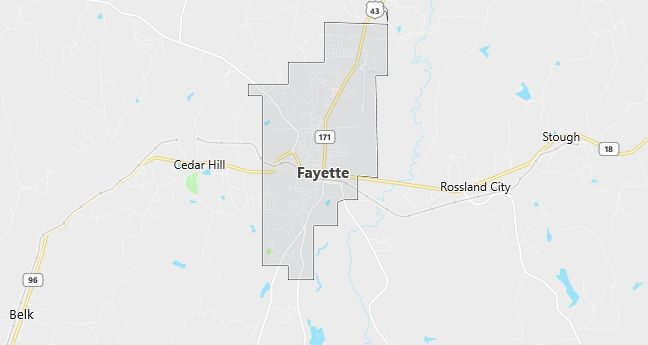 Map of Fayette, AL
