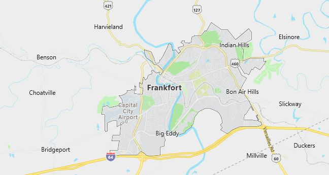 Map of Frankfort, KY