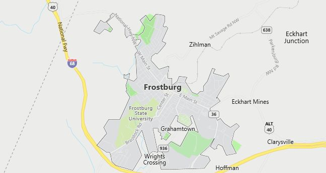Map of Frostburg, MD