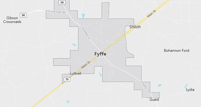 Map of Fyffe, AL