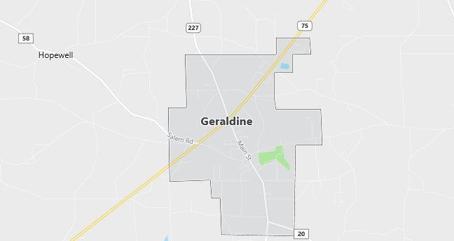Map of Geraldine, AL