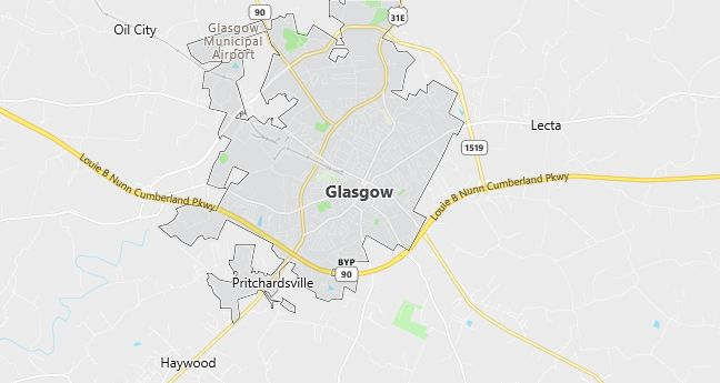 Map of Glasgow, KY