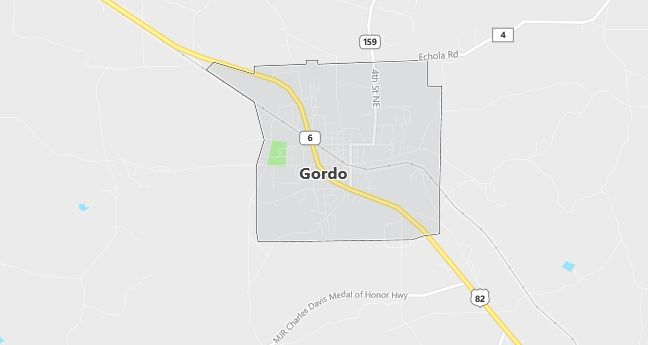 Map of Gordo, AL