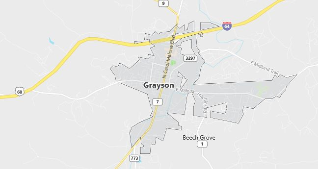 Map of Grayson, KY