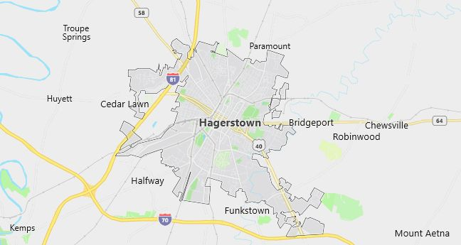 Map of Hagerstown, MD