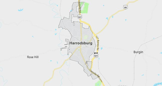 Map of Harrodsburg, KY