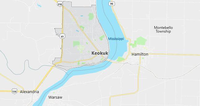 Map of Keokuk, IA