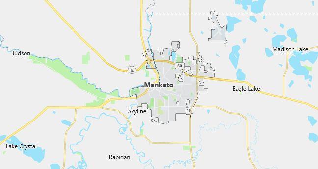 Map of Mankato, MN