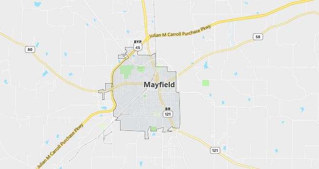 Map of Mayfield, KY