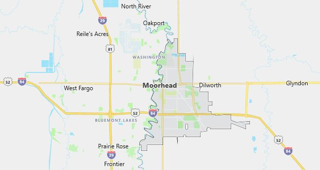Map of Moorhead, MN