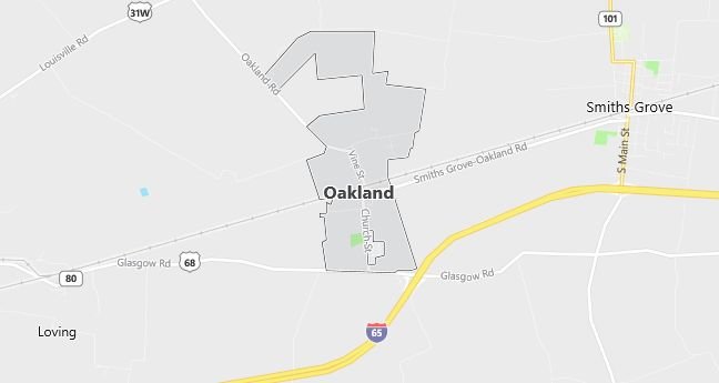 Map of Oakland, KY