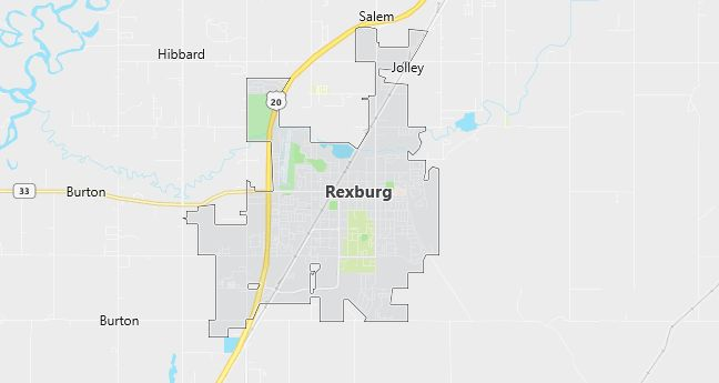 Map of Rexburg, ID