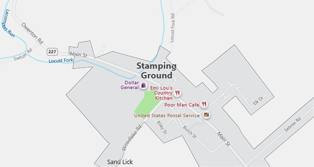 Map of Stamping Ground, KY