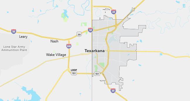 Map of Texarkana, AR