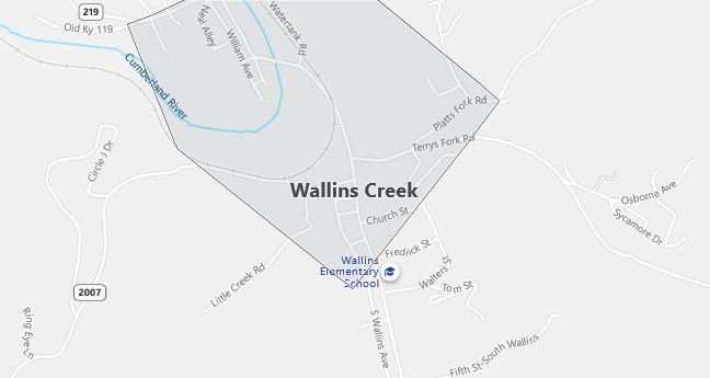 Map of Wallins Creek, KY