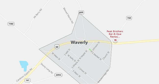 Map of Waverly, KY
