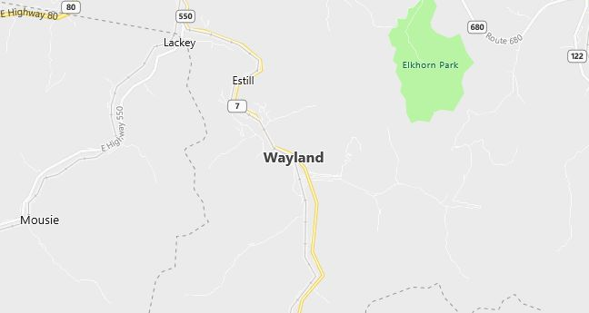 Map of Wayland, KY