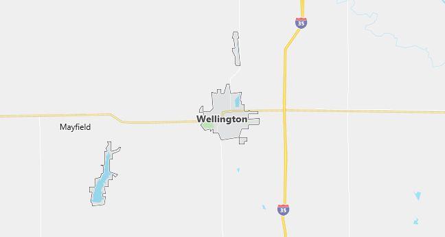 Map of Wellington, KS