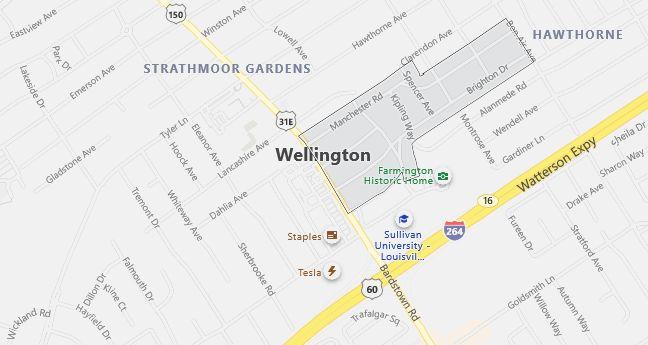 Map of Wellington, KY