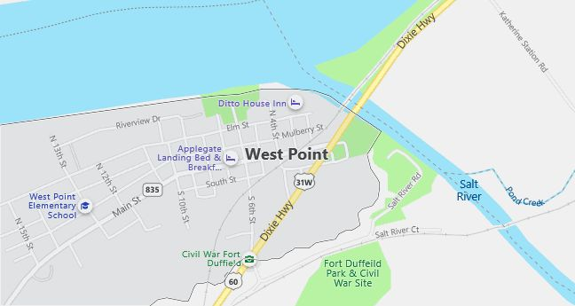 Map of West Point, KY