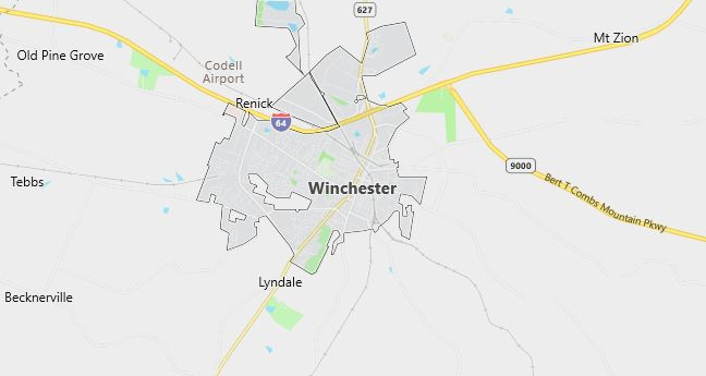 Map of Winchester, KY