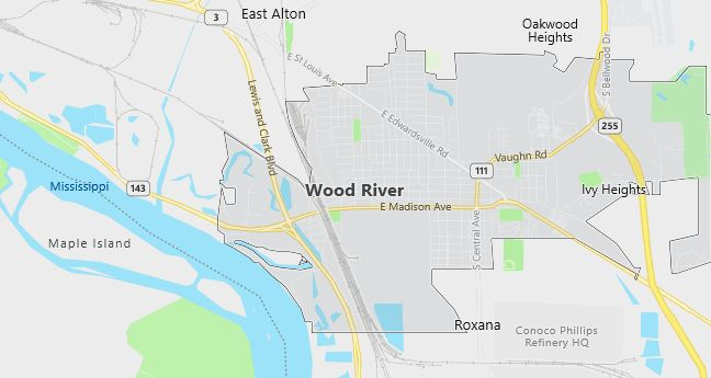 Map of Wood River, IL