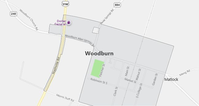Map of Woodburn, KY