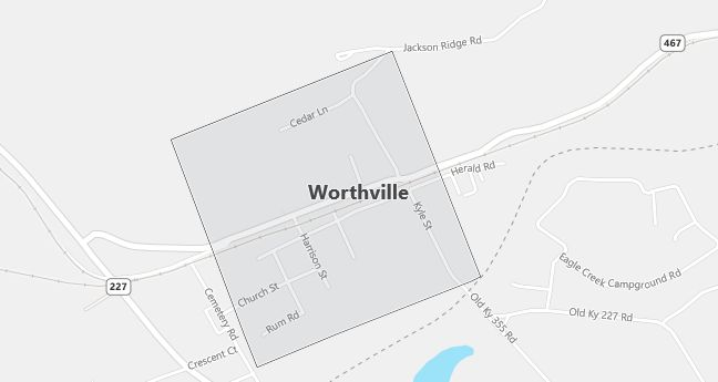 Map of Worthville, KY