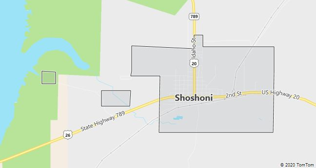 Map of Shoshoni, WY