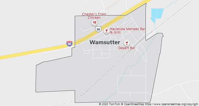 Map of Wamsutter, WY
