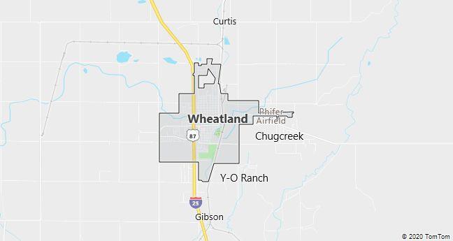 Map of Wheatland, WY