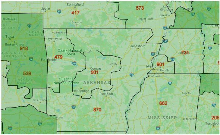Area Code Map of Arkansas