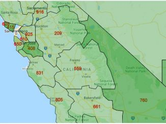Area Code Map of California