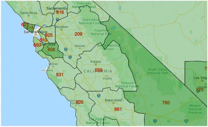 Area Code Map of California