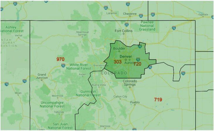 Area Code Map of Colorado