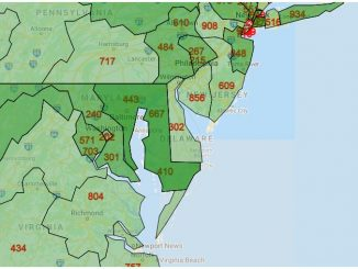 Area Code Map of Delaware
