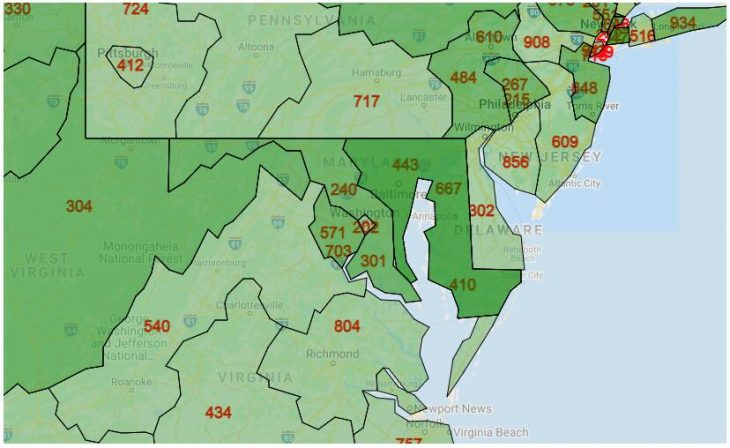 Area Code Map of District of Columbia