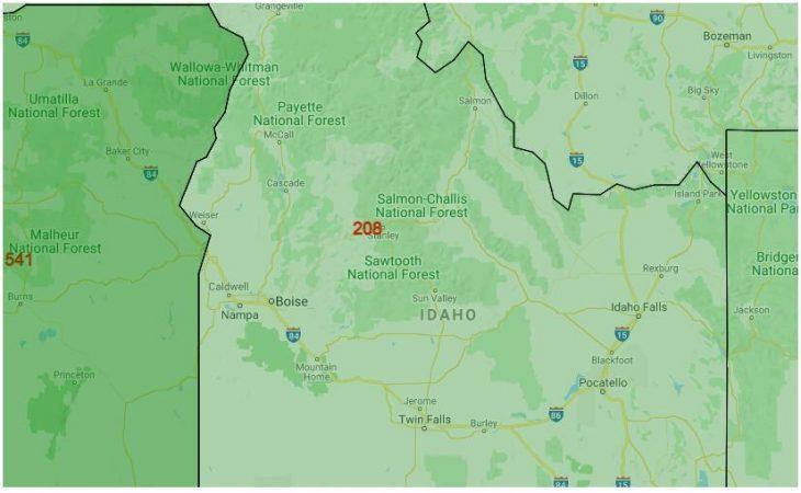Area Code Map of Idaho